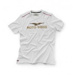 T shirt moto Guzzi logo blanc